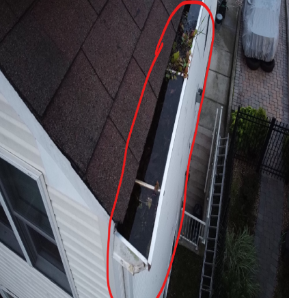 Drone shows clogged gutters